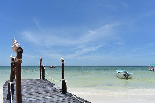 Isla Holbox, Mexico, North America, Sea, Ocean, Bridge