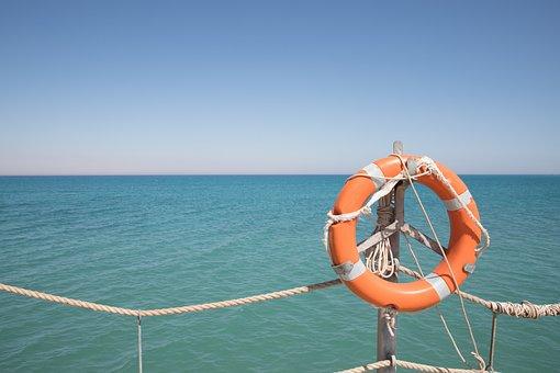 Sea, Rope, Blue, Bridge, Water, Ocean, Lifeline, Orange