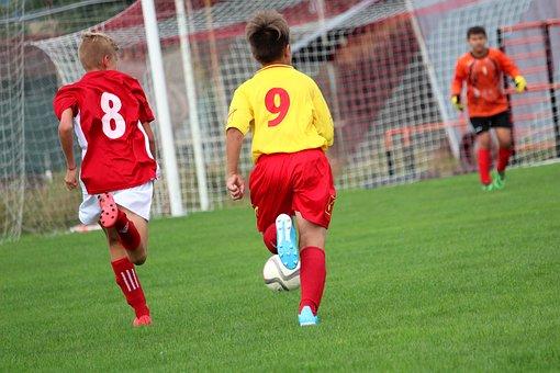 Football, Players, Children, Run, Run For The Ball