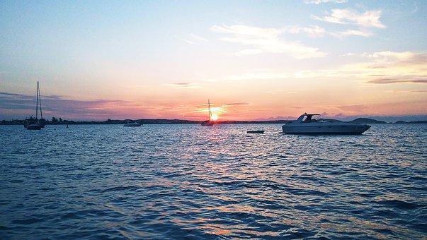 Sunset, Solstice, Port, Bay, Sea, Sun, Ship, Sailboat