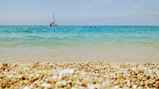 Myrtos, Sea, Colors, Ship, Summer, Ionio, Kefalonia