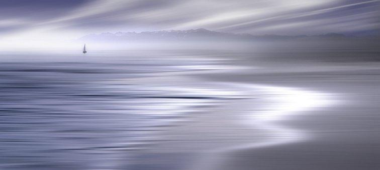 Landscape, Lake, Ocean, Sea, Water, Sky, Clouds, Mood
