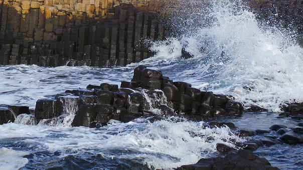 Giants Causeway, Waves, Sea, Water, Nature, Motion