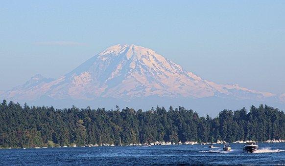 Seattle, Rainier, Mountain, Washington, Usa, Skyline