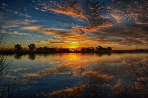 Landscape, Highlights, Reflection, Clouds, Sky, Lake