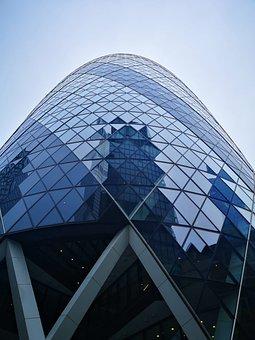 Gherkin, London, Skyscraper, Building, Reflection