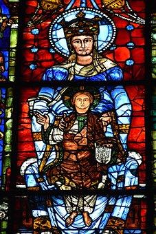 Stained Glass, Virgin, Mary, Church, Religion, Faith