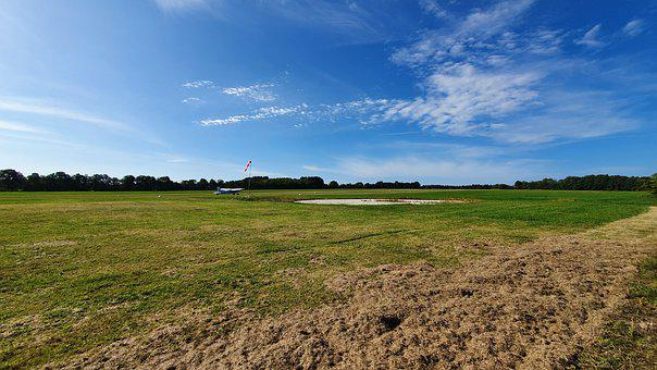 Airfield, Aircraft, Grass, Tarmac, Start Position
