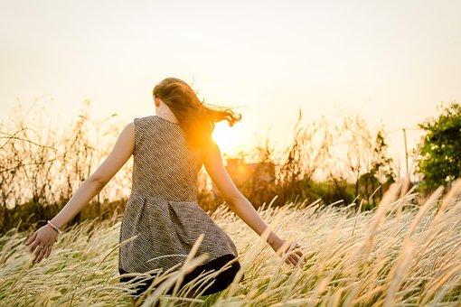 Sunset, Grass, Girl, Nature, Landscape, Meadow, Field