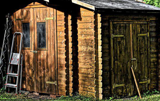 Garden Shed, Hut, Wood, Tool Shed, Garden, Scenic
