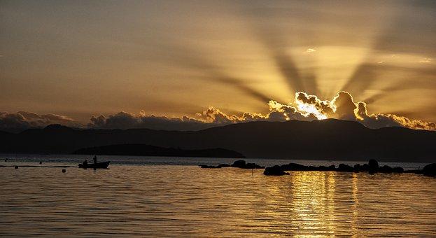 Sun, Lake, Sunrise, Sky, Water, Landscape, Nature