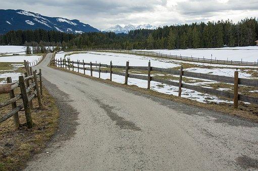 Road, Snow, Mountain, Wood, Landscape, Winter