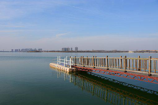 Lake, Pier, Water, Blue Sky, Landscape