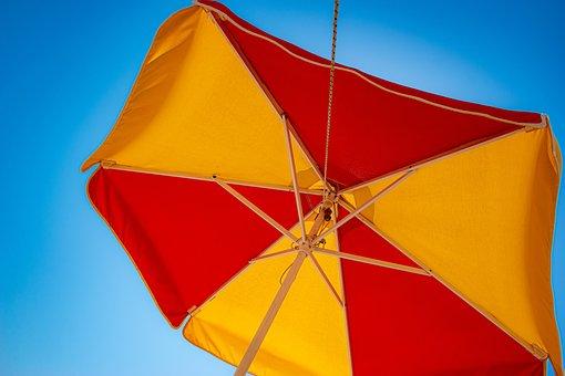 Umbrella, Sky, Blue, Sea, Summer, Sun, Vacation
