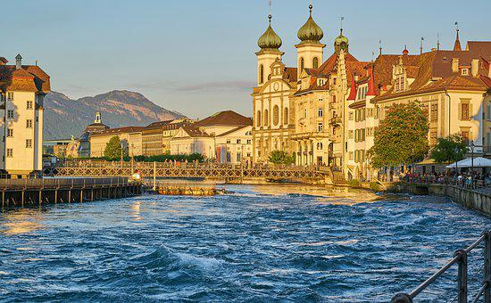 Lucerne, Switzerland, Tourism, Reuss, River, Bridge