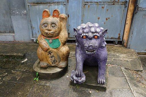 China, Cat, Asia, Figure, Sculpture, Art