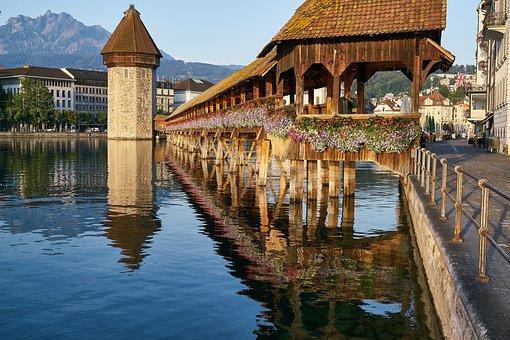 Kapellbrücke, Chapel, Bridge, Reuss, River, Lucerne