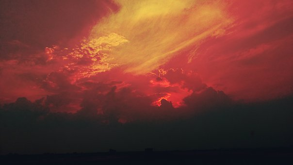 Nature, Sky, Sunset, Red, Cloud, Landscape, Color