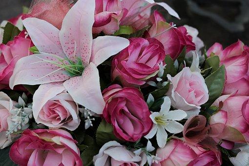 Colorful Artificial Flowers, Roses Arrangement