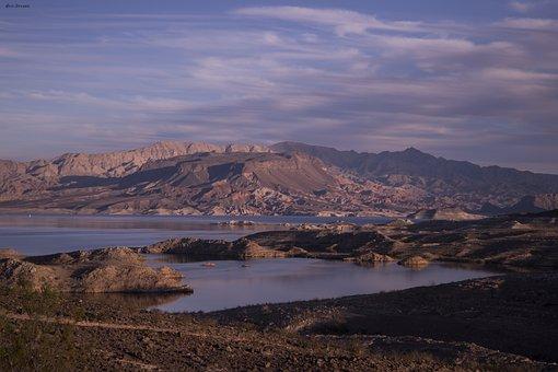 Nevada, Lake Mead, Landscape, Sunset, Mountain, Desert