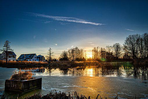 Lake, Abendstimmung, Sun, Pond, Water, Sky, Sunset