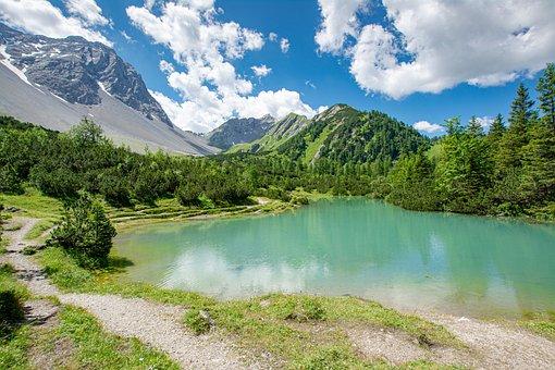 Bergsee, Lake, Mountains, Hirschsee, Nenzinger Sky