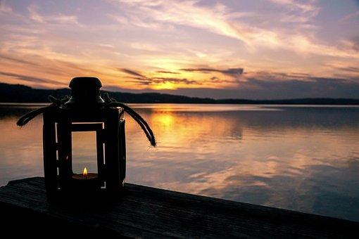 Sunset, Evening, Sky, Lantern, Light, Red, Mood, Lamp