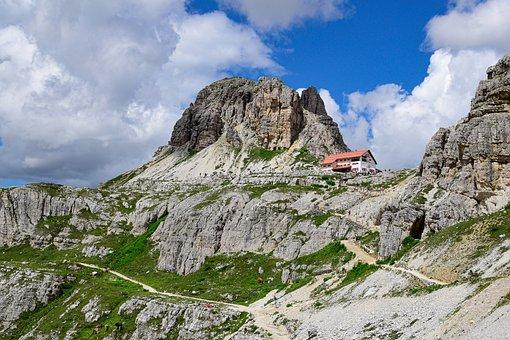 Mountain Hut, Mountains, Three Zinnen, Dolomites, Sesto