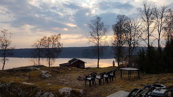 Sweden, Lake, Nature, Water, Landscape, Sky, Forest