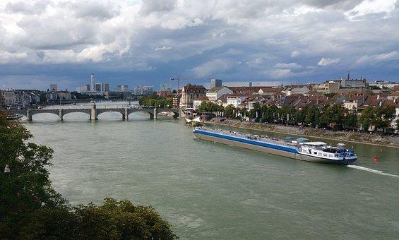 Basel, Rhine, River, Bridge, Tanker, Ship