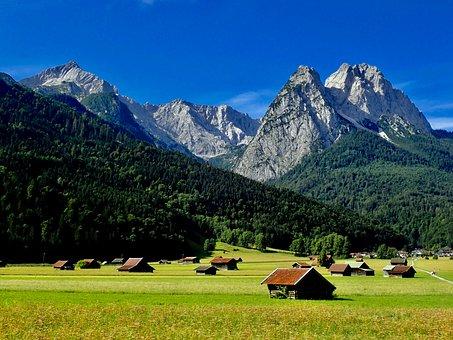 Alpine, Wetterstein Mountains, Mountains, Waxenstein