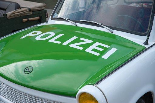 Polizei, German, Police, Trabant, Car, Background, Cop