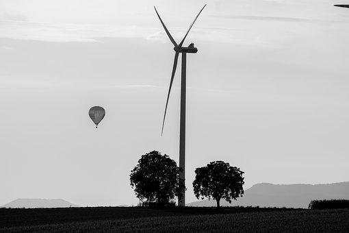 Sky, Nature, Trees, Pinwheel, Black And White