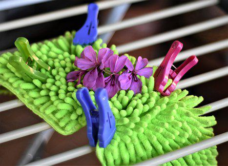 Mop, Sponge, Clothespins, Clothes Drying Rack