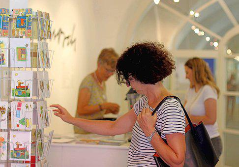 Exhibition, Visitors Of The Exhibition, Postcards