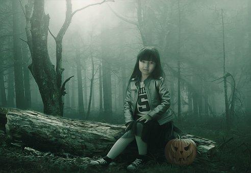 Child, Girl, Fantasy, Dark, Gothic, Halloween, Pumpkin