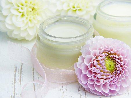 Cream, Skin Cream, Glass, Flowers, Dahlia, Pink