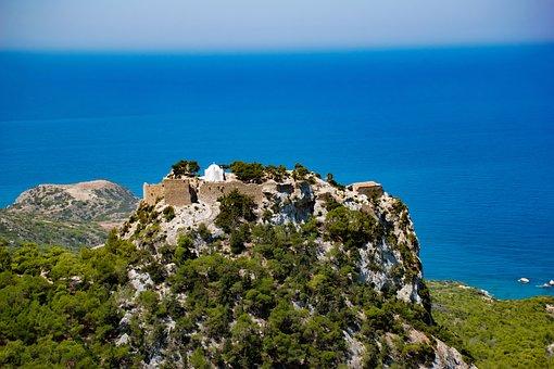 Greece, Rhodes, Monolitho's Castle, Sea, Sky, Island