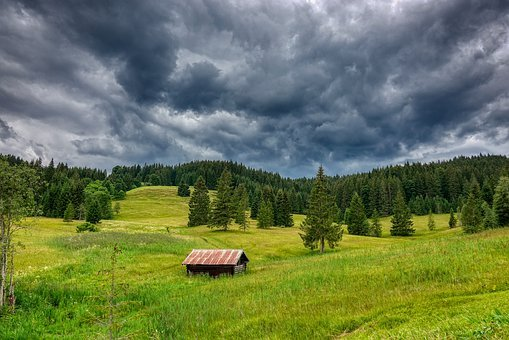Grey, Clouds, Green, Cabin, Hut, Menacing, Fear, Rain
