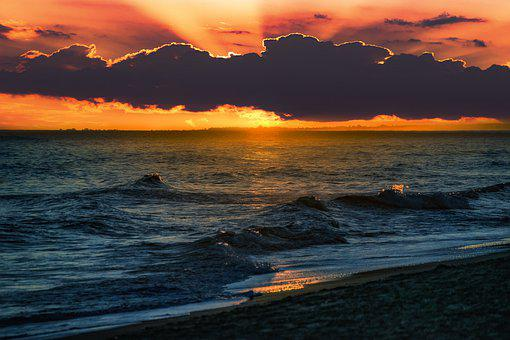Sunset, Sky, Clouds, Dawn, Sea, Summer, Orange, Sun