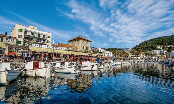 Spain, Sóller, Mallorca, Port, Boats, Water, Tram