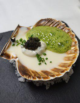 Scallop, Caviar, Star Kitchen, Eat, Luxury, Seafood