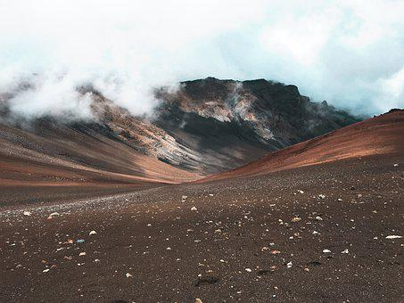 Mountain, Volcano, Sky, Clouds, Crater, Volcanic