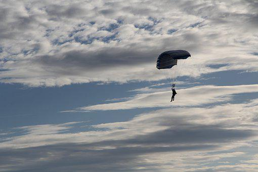 Flying, A Skydiver, The Sky, A Parachute, Skydiving