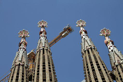 Towers, Sagrada, Familia, Basilica, Gaudi, Barcelona