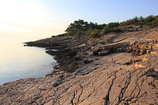 Beach, Sea, Cliff, Stone, In The Morning, Light
