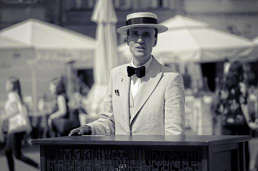 Man, Adult, Person, Suit, Epoch, Hat, Bow Tie, Singing
