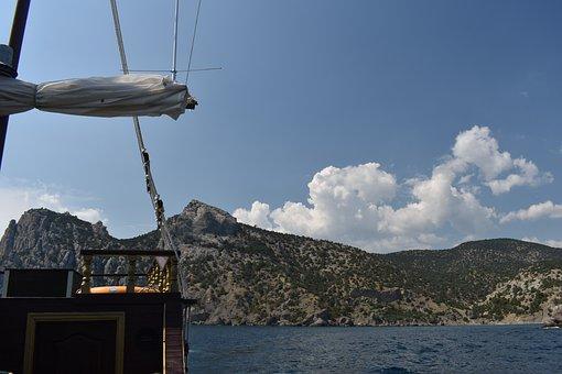 Ship, Sea, Mountains, Trees, Landscape, Sky, Clouds