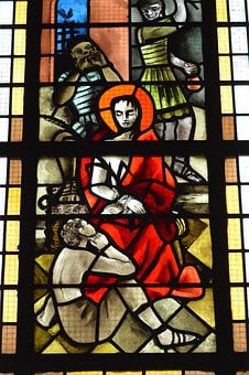 Stained Glass, Window, Church, Colorful, Red, Passion
