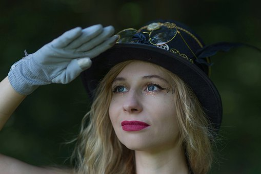 Steampunk, Look Into The Distance, Portrait, Hat